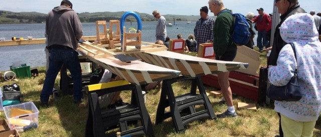 construction underway for wooden boat challenge