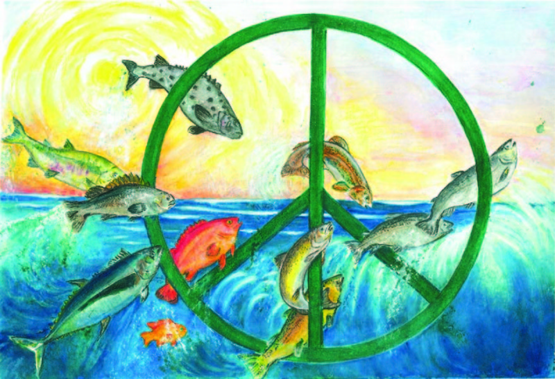 Fish jumping through peace symbol